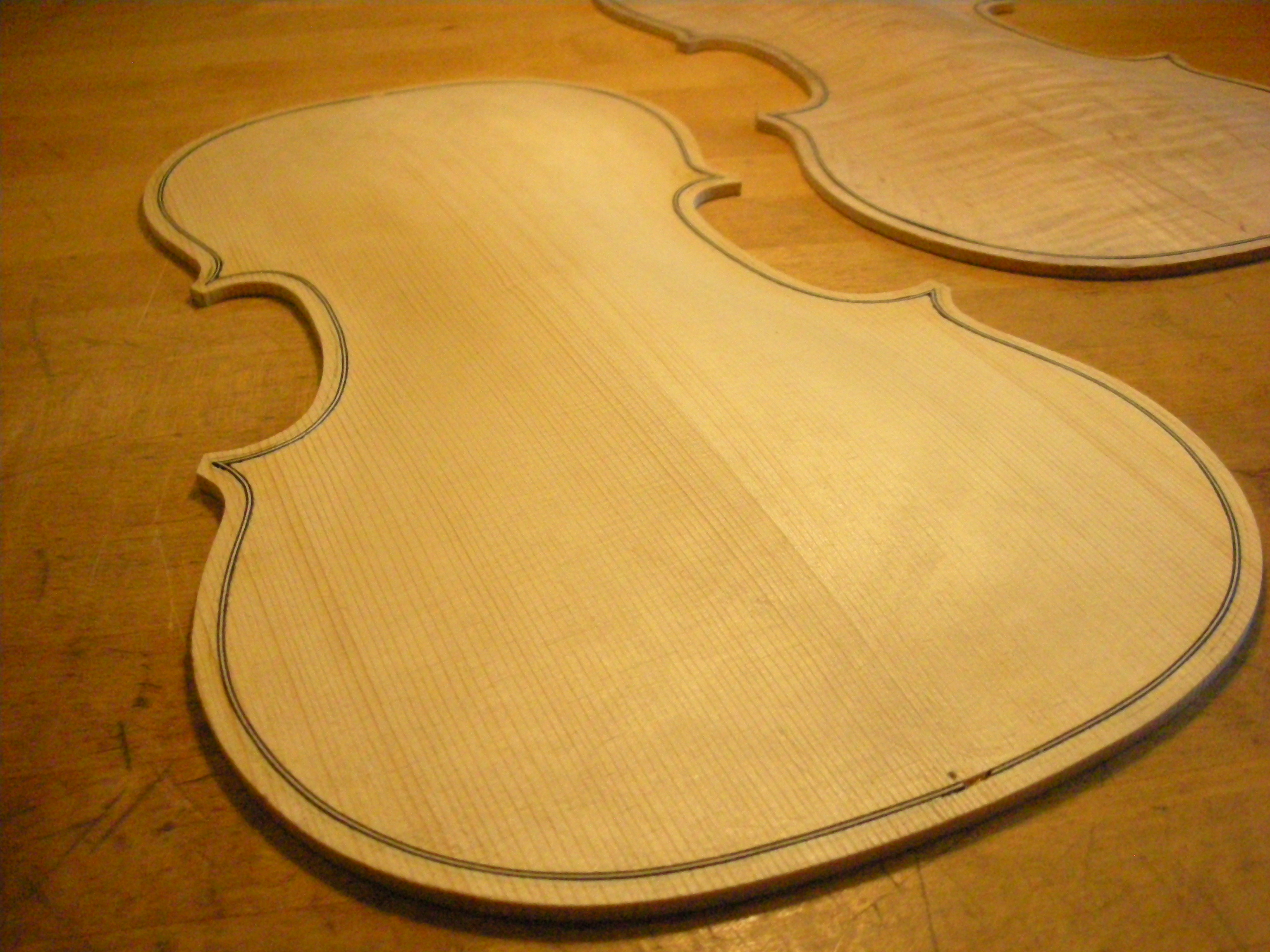 violin top and back with purfling