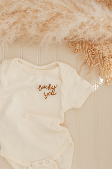 LUCKY YOU Embroidered Onesie + T