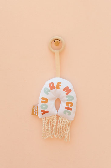 You Are Magic Rainbow with Fringe Baby Rattle and Teether/ Binky Babe