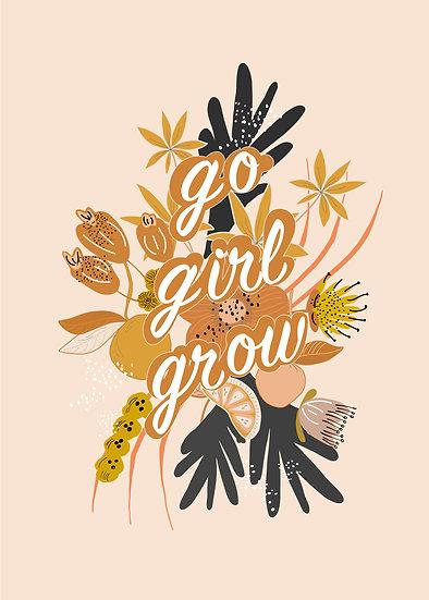 Digital Print at Home Go Girl Grow