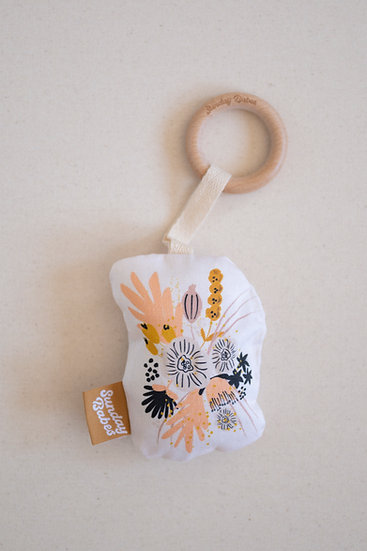 Kylynn Floral Baby Rattle and Teether / Binky Babe