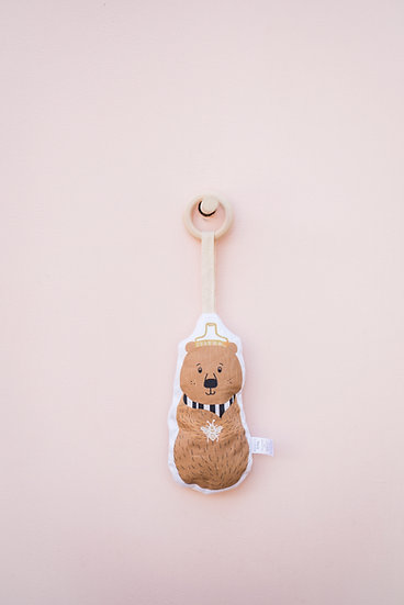 Brown Bear Baby Rattle and Teether / Binky Babe