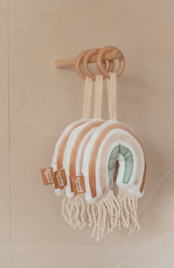 Dusty Blue Rainbow with Fringe Baby Rattle and Teether / Binky Babe