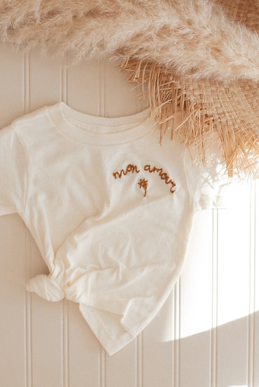 MON AMOUR Embroidered Onesie+ T