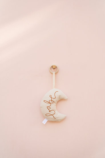 Babe Hand Embroidered Crescent Moon Baby Rattle and Teether