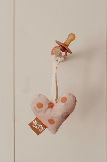 Binky Babe/Lovie Velvet Muted Clementine Heart