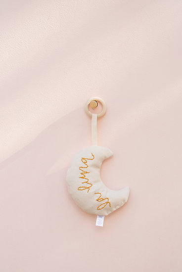 La Luna Hand Embroidered Crescent Moon Baby Rattle and Teether