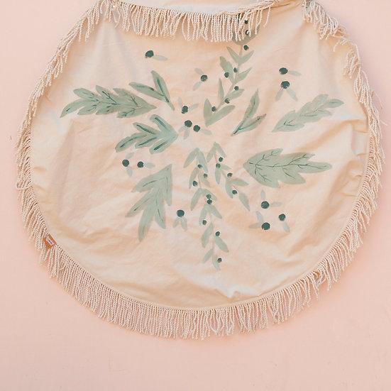 Frosted Evergreen Circle Fringe Picnic Blanket