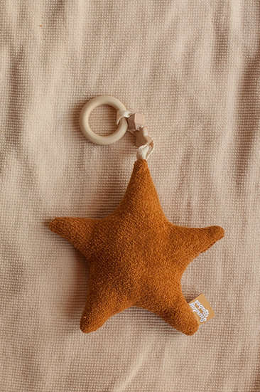 Harvest Star in Nutmeg Baby Rattle and Teether / Binky Babe