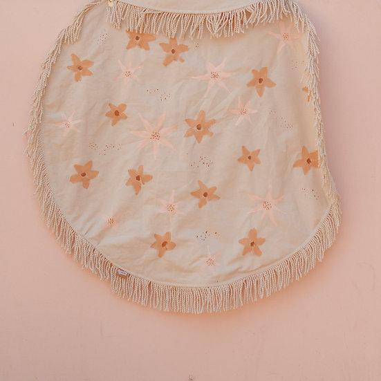 Peachy Pink Florals Circle Fringe Picnic Blanket