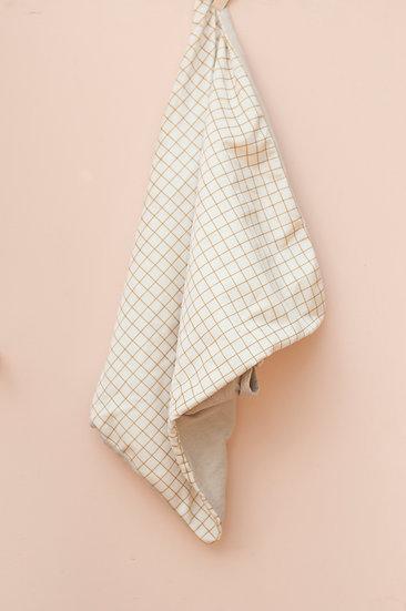 Mustard Grid On Cream Velvet Pillow Case