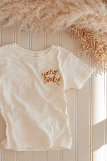 YOURS TRULY Embroidered Onesie and T