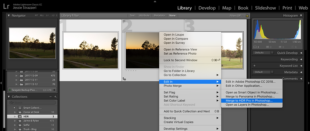 Moving images from Lightroom to Photoshop for HDR
