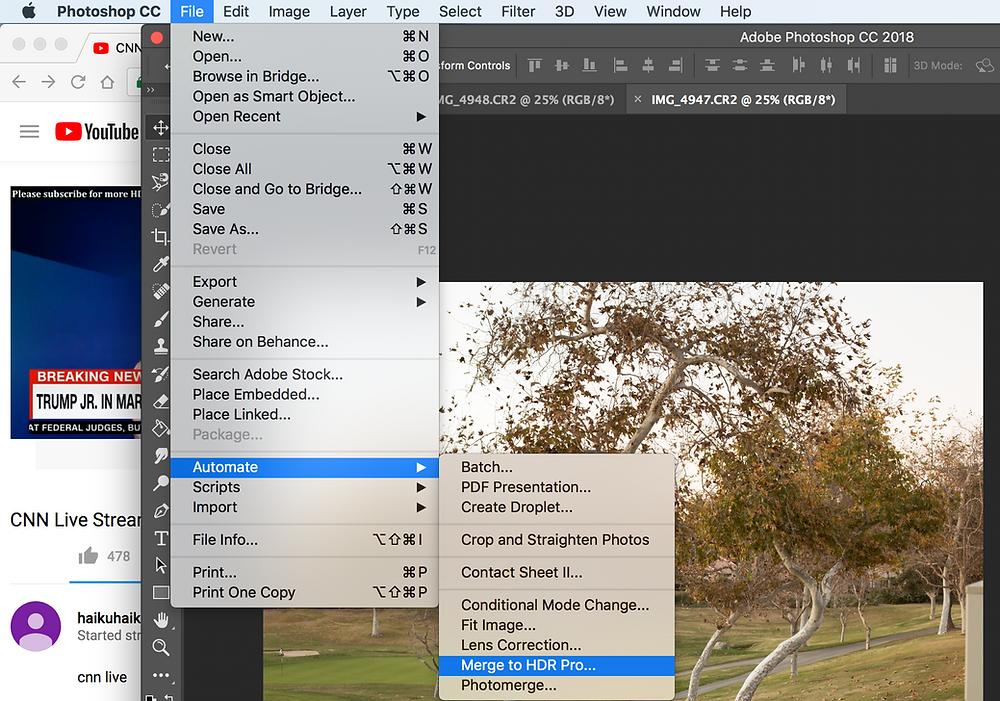 Using Photoshop to Merge HDR Photo