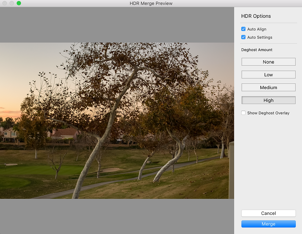Deghost option in Lightroom HDR Merge