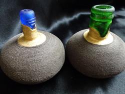 F-10 Blue Maxi £40, Green Maxi £40 with Sea Glass Bottle Necks