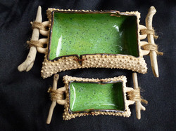 D-04 Dotted clay, lime speckle glaze, local driftwood handles: Larger 15x9cm £45, Small 10x5cm £25