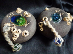 F-04 Green Maxi -SOLD- Blue Maxi £40 Melted Glass Rock Pool