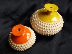 P-01 Midi orange speckle £30, Maxi yellow speckle £40