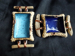 D-02 Buff clay with dots: Skyblue 10x5cm £25, Royal Blue 9x6cm £25 Northumberland driftwood handles