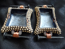 D-07 Black with buff dots, oilcloth glaze, nail handles: Left 8x6cm, Right 9x5cm £25 each