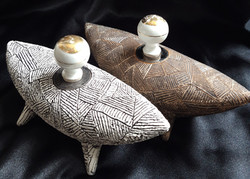 E-02 Tribal Boats + vintage ceramic stoppers £65 each or £120 for pair (w20cm/d7cm/h11cm)