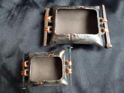 D-03 Black clay metallic finish wrought iron nail handles: Larger 13.5x10cm £45, Smaller 9.5x8cm £30