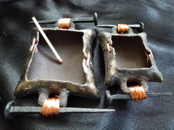 D-05 Black clay, copper accents, handmade iron nail handles: Larger 10x6cm £30, Smaller 8x5cm £20