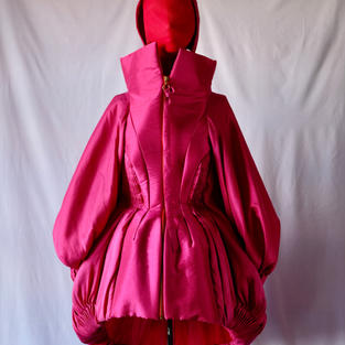 Voluminous Fucsia Coat with Fitted Waist