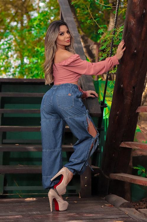 Calça Feminina Pantalona Copen Jeans