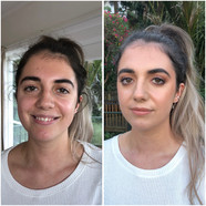 Before and after Simple smokey evening makeup for Serena