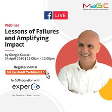 Giorgio Catucci (Regional Lean Leadership Ambassador of DHL) is specially curated for aspiring and seasoned entrepreneurs and social entrepreneurs alike, who seek the wisdom and professional guidance in areas of business model innovation, understanding and building customer base and loyalty, creating exponential impact and effective leadership.  Register now at bit.ly/MaGICWebinars13 to book your slot and we'll see you tomorrow at 11am!