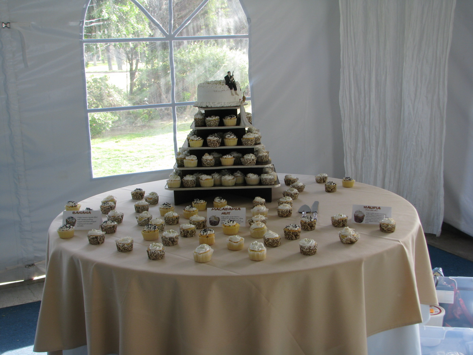 Wedding Cake & Cupcake set up