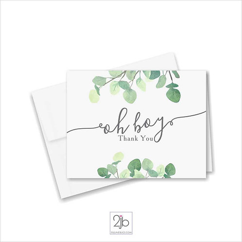 Oh Boy Eucalyptus Greenery Baby Shower Thank You Cards