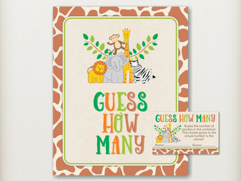 Safari Guess How Many Baby Shower Game