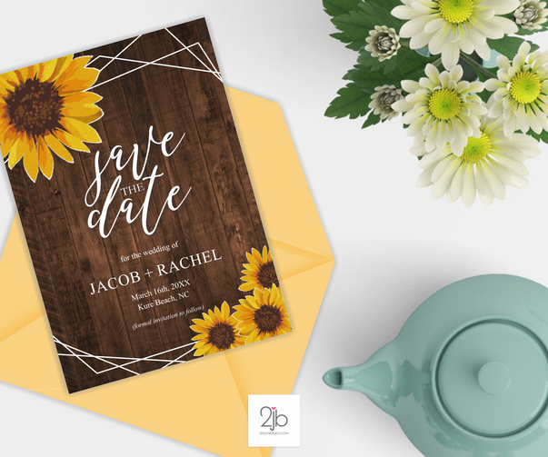 Rustic Sunflower Wedding Save the Date