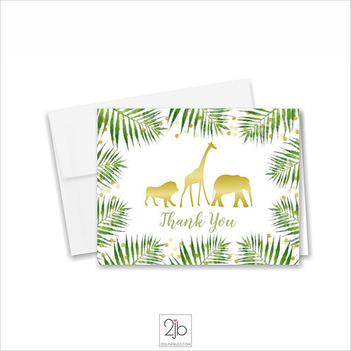 Safari Gold Baby Shower Thank You Cards