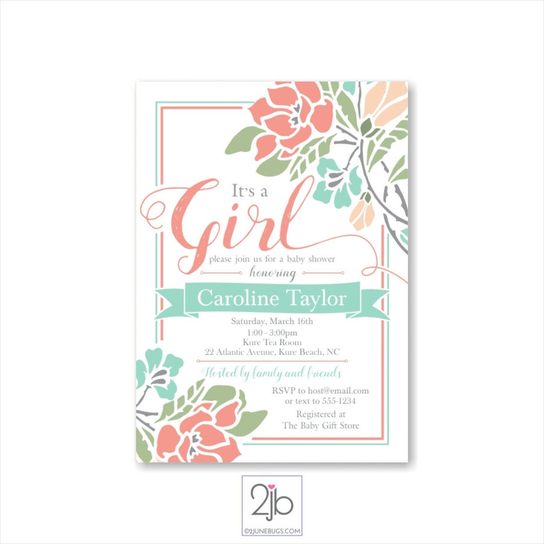 Coral Floral Baby Girl Shower