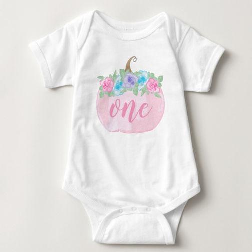 Watercolor Floral Pumpkin Baby Bodysuit
