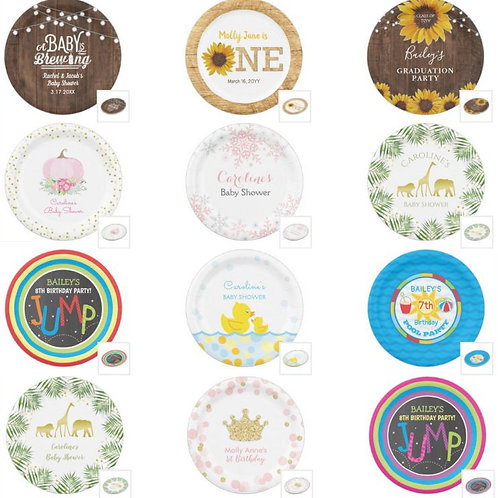 "Personalized 9"" Dinner Paper Plates"