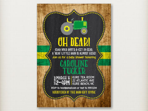 Green Tractor Baby Shower