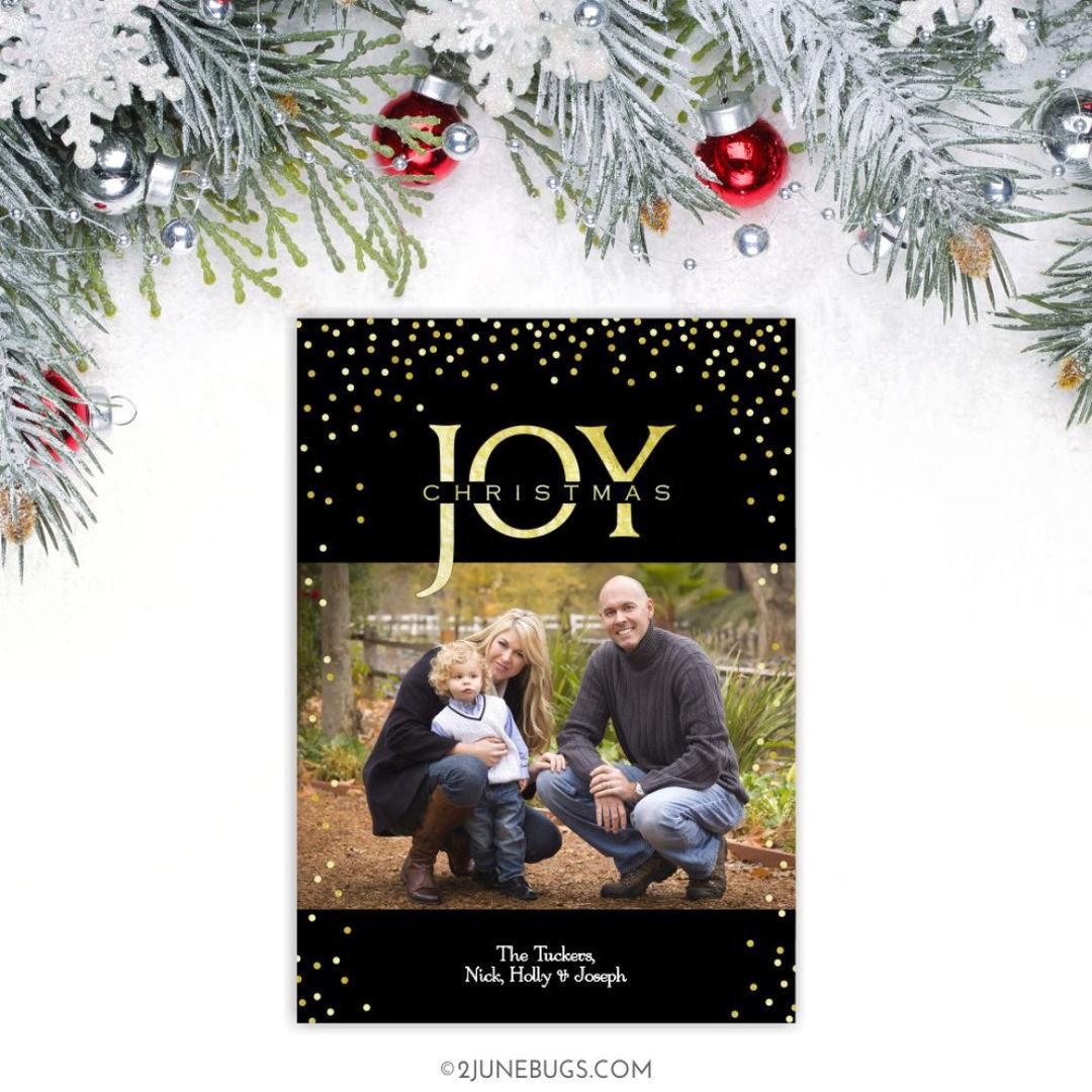 Elegant Black & Gold JOY Christmas Photo Card