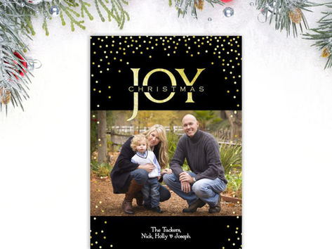 Elegant Black & Gold JOY Christmas Photo Card