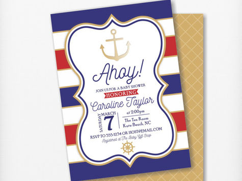 Red, Blue and Gold Anchor Baby Shower