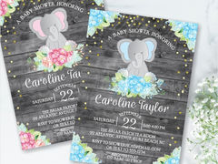 Rustic Watercolor Floral Elephant Baby Shower