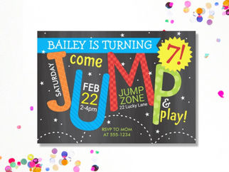 Jump Birthday Party on Chalkboard