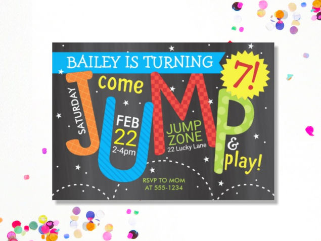 Jump Birthday Party on Chalkboard
