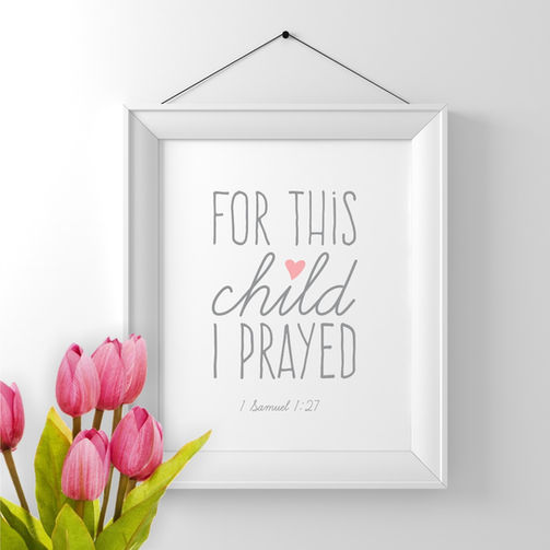 For this Child I Prayed Scripture Wall Art
