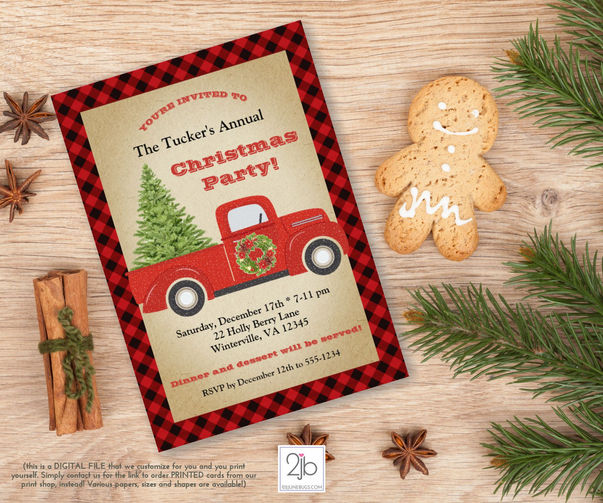 Red Truck Christmas Party Invitation