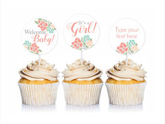Coral Floral Baby Shower Cupcake Toppers